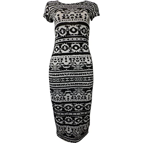 cfcc6b6a81d Women Ladies Printed Jersey Stretch Crew Neck Bodycon Cap Sleeve Midi Dress  8-26