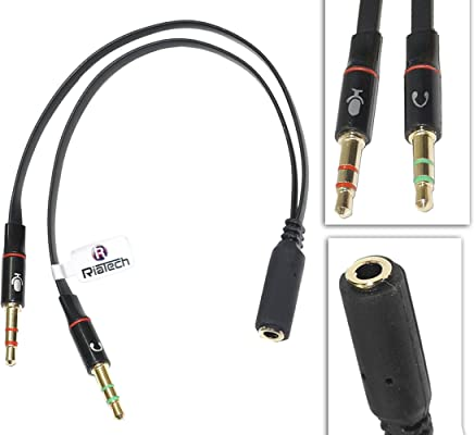 RiaTech Gold Plated 2 Male to 1 Female 3.5mm Headphone Earphone Mic Audio Y Splitter Cable for PC Laptop – Black