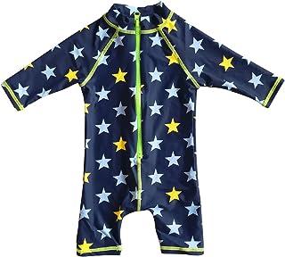 BONVERANO Baby Boy UV Swimsuit UPF 50+ Sun Protection S/S One Piece Kids Sunsuit Zipper