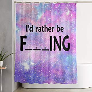 MAHENSHANGM I D Rather Be Fishing Shower Curtain Bathroom Decor Set 66 X 72 inch Curtains Bath Set