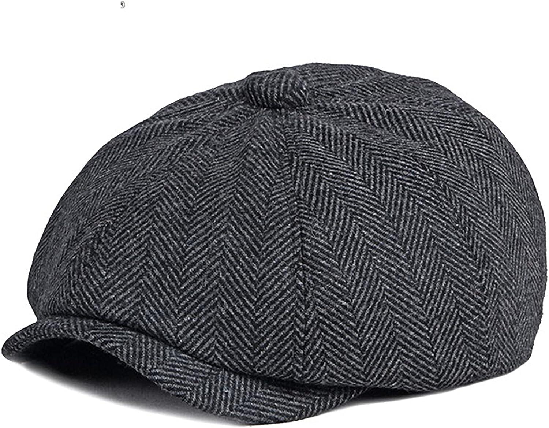 KeepSa Boinas Hombre Gorras Planas 8 Panel Herringbone Tweed Gatsby Ivy Aire Libre Ajustable Driving Casual Hat