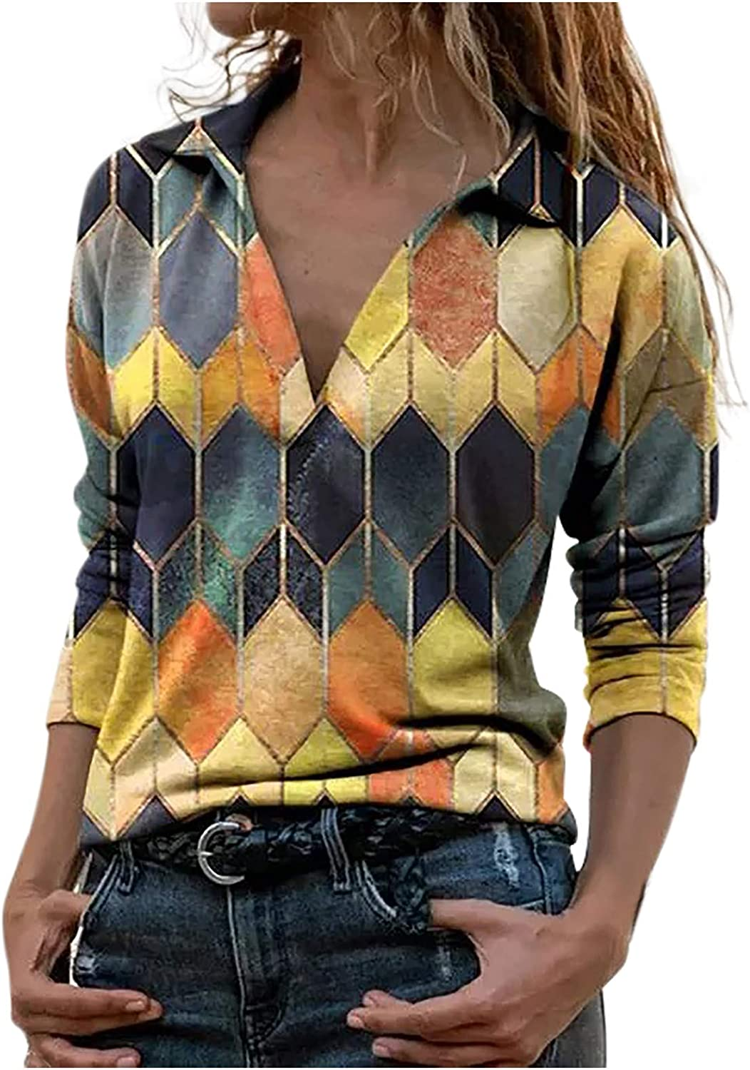 HGWXX7 Womens Tops Vintage Long Sleeve Polo T-Shirts Plus Size Fashion Printed Tunic Blouse Pullover Yellow