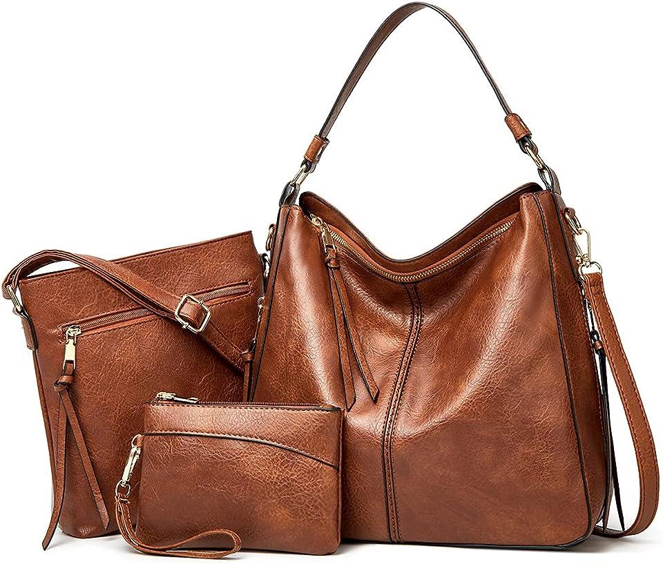 Damen Handtasche Tote Shopper Groß Schultertasche Umhängetasche Geldbörse Kartenhalter Tasche 3-teiliges Set für Büro Schule Einkauf Reise Geschenk (BraunC)