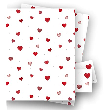 50cm x 70cm  Love Hearts Any occasion Paper 2 sheets of gift wrap /& 2 tags