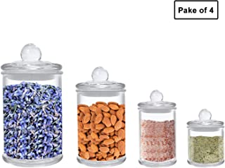Airtight Glass jars Glass Food Storage jars Airtight Glass Canister Set of 4-25.4/12.5/5.1/4.1 OZ, Glass Food Jars BPA Free High Borosilicate Canisters Glass Cookies Jar Glass Canister with Lid, Cy