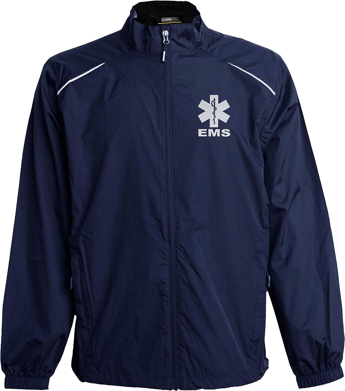 Smart People Clothing EMS Navy Windbreaker, Reflective Logo, Zip-up Jacket, First Responder