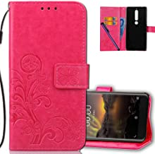 Nokia 6.1 (2018) Wallet Case Leather COTDINFORCA Premium PU Embossed Design Magnetic Closure Protective Cover with Card Slots for Nokia 6 2018. Luck Clover Rose