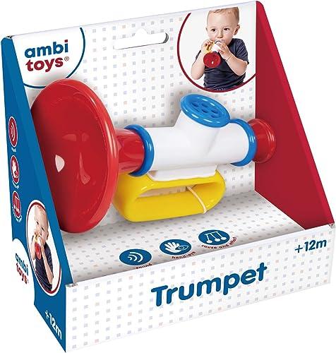 Ambi Toys- Trumpet-Jouet d'éveil Musical pour Les Enfants et bébés dès 12 Mois, 131202, Rouge, Bleu et Jaune