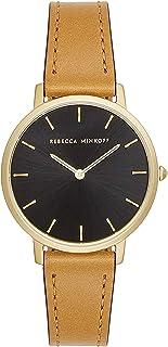 Rebecca Minkoff Women's Major Stainless Steel Quartz Watch with Leather Calfskin Strap, Brown, 16 (Model: 2200240)