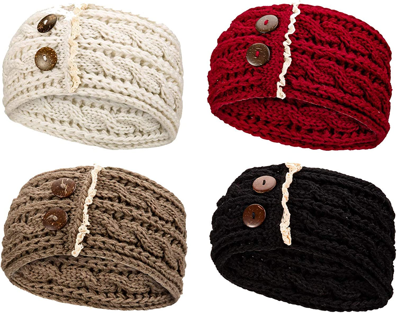 Whaline Women Winter Headbands Cable Knit Ear Warmer Headband 4 Pack Crochet Turban with Lace Button Thick Stretchy Head Wrap Winter Hair Band Accessories for Girls Women Sking Camping Hiking Outdoor