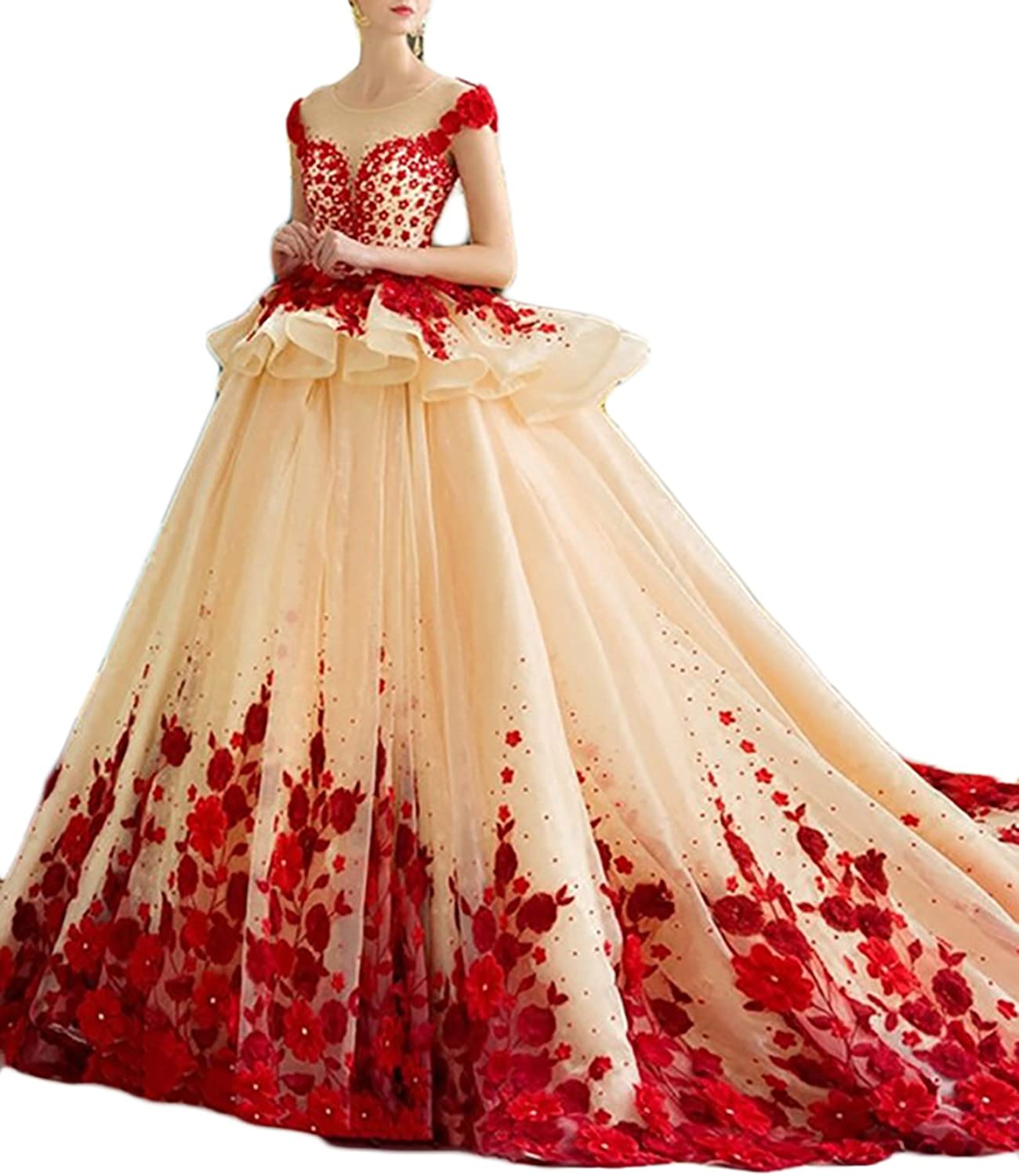 Annxpink Women's Ball Gown Cap Sleeve Scoop Beading Flowers Cathedral Train Tulle Wedding Dress Bridal Gown