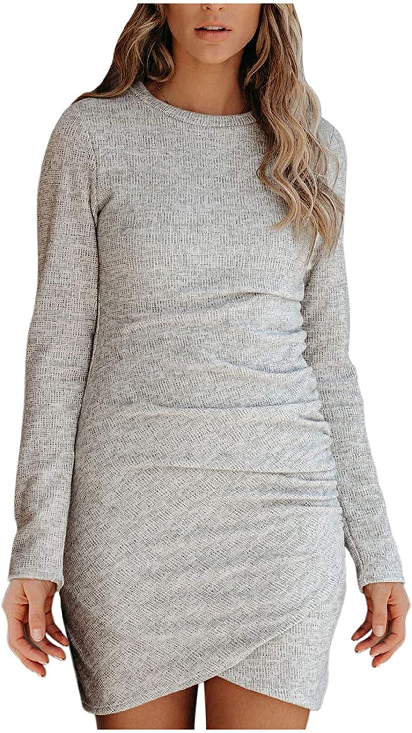 Sexy Solid O-Neck Long Sleeve Pleated Before Split Slim Sweater Dress for Women