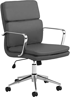 Benjara Mid Back Adjustable Leatherette Office Chair, Gray and Chrome