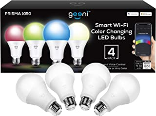 Geeni Prisma 1050 Wi-Fi Multicolor Light Bulbs (2700K), 4-Pack  Dimmable LED Bulbs, 75-Watt Equivalent  No Hub Required  Works with Amazon Alexa, Google Assistant, Microsoft Cortana