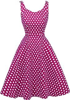 Women's 1950's Bowknot Vintage Retro Polka Dot Rockabilly Party Swing Dress