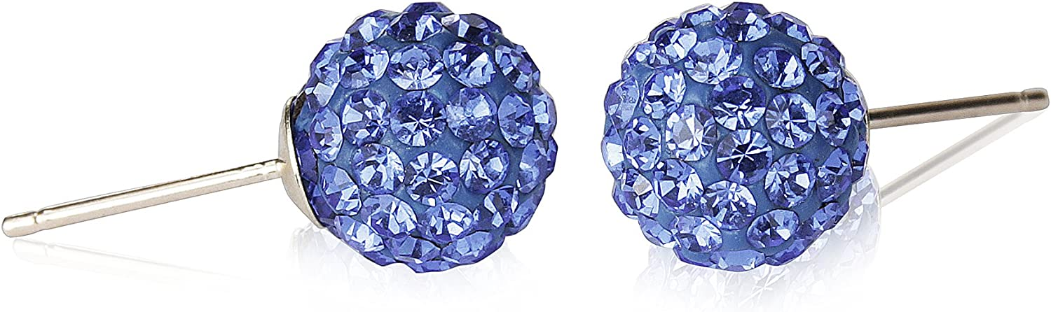 14k Yellow gold 8mm Disco Ball Stud Earrings with Crystals Elements Choice of colors (bluee)