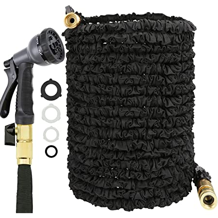 JAMIEWIN 100FT Garden Hose Pipe - Extendable Hose Pipes for Garden 8 Pattern Spray Nozzle Expandable Black Magic Hosepipes Solid Brass Fittings