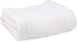 Linteum Textile (66x90 in, White) Hospital Thermal Blanket, 100% Cotton, Breathable Open-Cell Weave Design