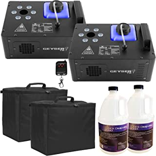 (2) Chauvet DJ Geyser T6 Vertical Fog Machines with Fog Fluid and Carry Cases Package
