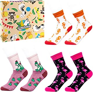 Llamabanana 3 pares de calcetines para niños y niñas de algodón de lujo colorido con caja de regalo fabricado en Europa