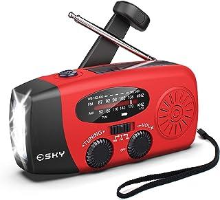 [アップグレード] Esky天気ラジオ、ハンドクランク3 LED懐中電灯/ 1000mAhパワーバンク/ USB電話充電器(赤)とセルフソーラーFM/AM / NOAA緊急ラジオ、