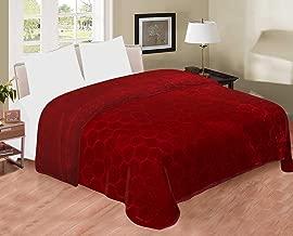 HOMECRUST Soft Plain Embossed Floral Double Bed Mink Blanket - (Maroon)