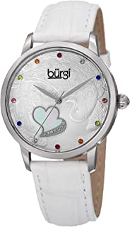 Swarovski Crystal Accented Women's Watch - On Peacock and Mother-of-Pearl Heart Dial On Embossed Leather Strap - BUR149
