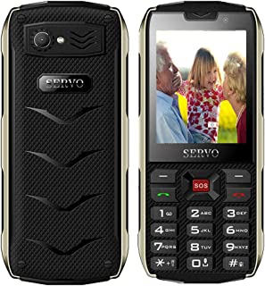 Peedeu Button Mobile Phone for Elderly,Unlocked Easy Mobile Phone for Senior,SOS Mobile Phone(2.8inch,4 SIM,GPRS,3000mAh Battery,Camera,Bluetooth,Torch)