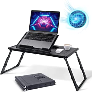 Glorider Foldable Laptop Desk, Portable Laptop Table Bed Tray with Internal USB Fans, Multi-Functional Laptop Stand, Lap Desk with Height & Angle Adjustable, Breakfast Table for Bed, Sofa and Floor