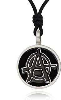 Anarchy Government Protest Silver Pewter Charm Necklace Pendant Jewelry