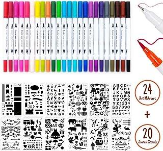 Lot de 24 Pochoir Journal et 20 Double Pointes Feutre Fine pour Journal, Mandalas, DIY Album Photo, Manga etc.
