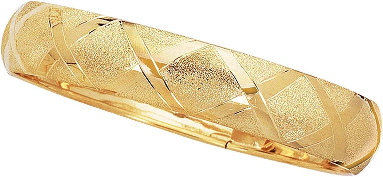 JewelStop 10K Yellow Gold 12mm Shiny High Dome Flex Bangle Diamond-Cut Pattern - 8 Inches, 7.7gr.