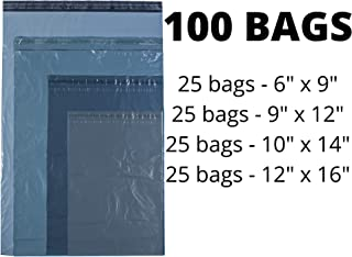 Calzette 4 types Postage Bags for Packaging ans Posting 100 Bags Mixed Sizes Plastic Envelopes
