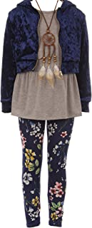 Sponsored Ad - BNY Corner 4 Pieces Jacket Tank Top Legging Necklace Winter Girls Pant Set 4-14