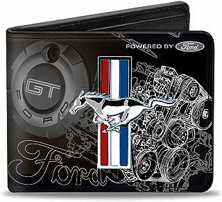 Buckle-Down Men's Wallet Mustang Tri-bar Stripe/gt Motor Blueprint Accessory, Multi, One Size