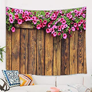DYNH Rustic Floral Tapestry Wall Hanging, Flowers on Spirng Garden Wooden Fence Wallpaper Wall Tapestry, Western Farmshouse Country Tapestry for Bedroom Living Room Dorm TV Background, 71X60 in