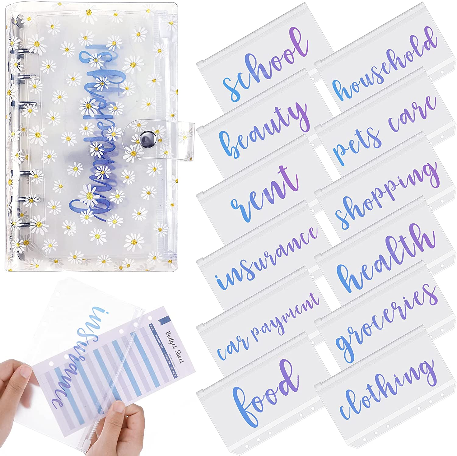 PVC A6 Budget Binder Budget Planner Organizer with 12 Pieces Cash Envelopes Budget Envelope Budget Sheets Expense Tracker and Cash Envelope Wallet System Wallet for Bill Planner (Colorful Sequins) : Office Products