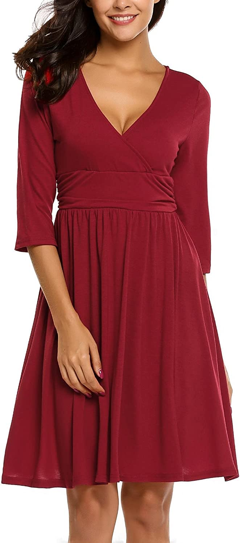 Beyove Women's Ethnic Floral Print Short Sleeve O Neck Elastic Waist Midi Dress