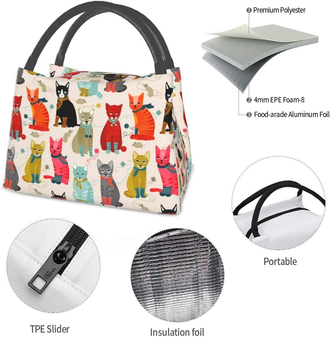Cat Ladies Lunch Bag Tote Bag Lunch Bag for Men Women Lunch Box Reusable Insulated Lunch Container Work Pinic or Travel