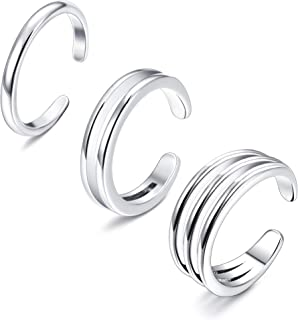 925 Sterling Silver Minimalist Toe Rings Set Simple Open Thin Band Ring Adjustable for Women Girls
