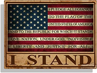 I STAND USA Rustic Flag Sticker Decal Pledge of Allegiance Car Truck Cup Laptop Bumper Window