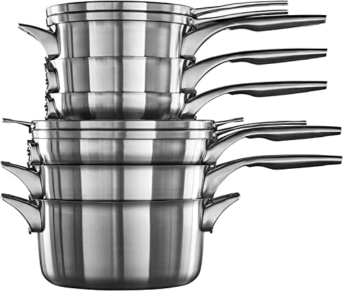 new arrival Calphalon popular Premier Space-Saving Stainless Steel Pots and Pans, wholesale 10-Piece Cookware Set sale