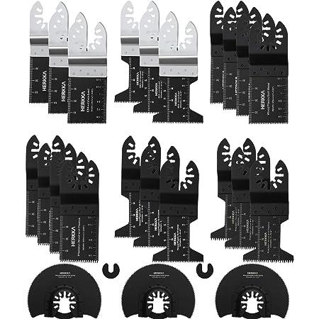HERKKA 23 Metal Wood Oscillating Multitool Quick Release Saw Blades Compatible with Fein Multimaster Porter Cable Black & Decker Bosch Dremel Craftsman Ridgid Ryobi Makita Milwaukee Dewalt Rockwell