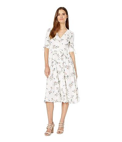 1.STATE Floral Belle Tie Sleeve Button Front Midi Dress (Soft Ecru Blush) Women