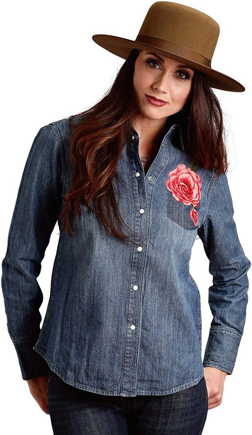 Stetson Floral Embroiderd Denim Shirt