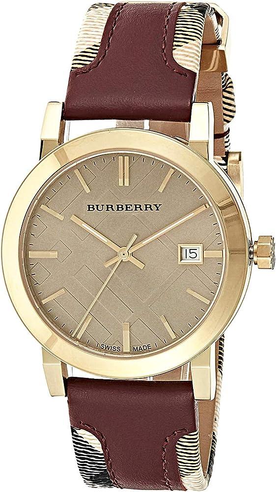 Burberry,orologio unisex, con cinturino in pelle e tessuto multicolore, e cassa in acciaio inossidabile BU9017 1
