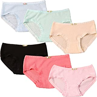 OuLu 6 Pack Cotton Brief Underwear for Womens/Teen Girls Candy Color Lingerie Panty Panties Set