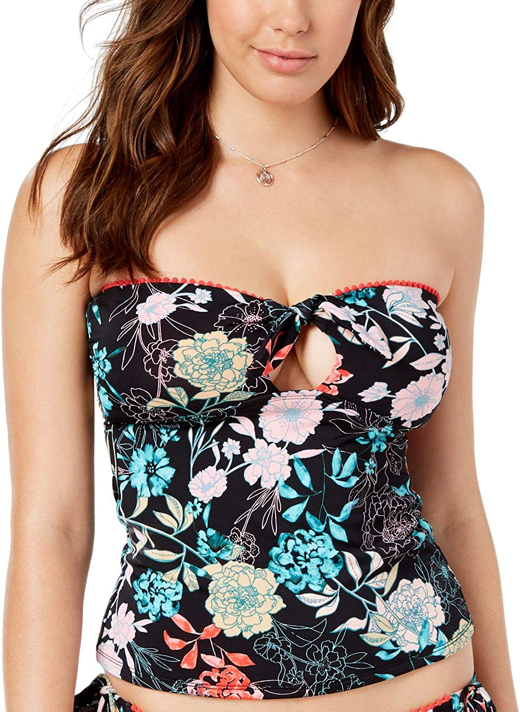 Bar III Women's Floral-Print Bandeau Tankini Top (Black Floral Medium)