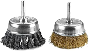 Katzco Wire Wheels Brush - 2 Pack Knotted and Crimped Cups for Rust Removal, Corrosion and Paint - Hardened Steel Wire for Reduced Wire Breakage and Longer Life