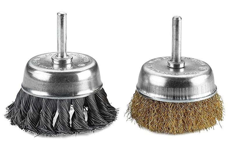 Katzco Wire Wheels Brush - 2 Pack Knotted & Crimped Cup For rust removal, corrosion and paint. Hardened steel wire for reduced wire breakage & longer life